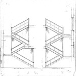College Hall Architectural Drawing – Section Through Stairs by The New Jersey State Normal School at Montclair . and Department of Charities and Correction, Architects Office .